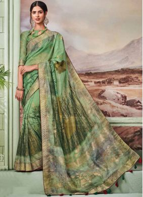 Baronial Green Fancy Designer Traditional Saree