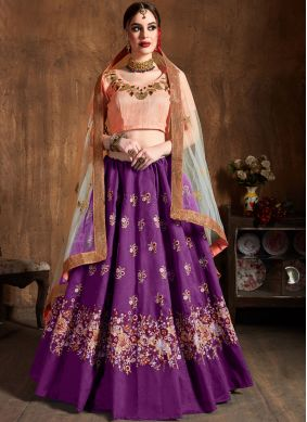 Baronial Lace Raw Silk Purple Lehenga Choli
