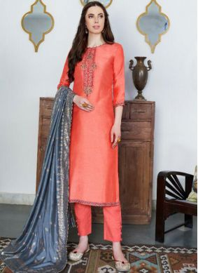 Baronial Orange Cotton Silk Designer Pakistani Suit