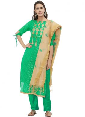 Baronial Sea Green Churidar Suit