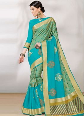 Beauteous Woven Blue and Green Traditional Designer Saree