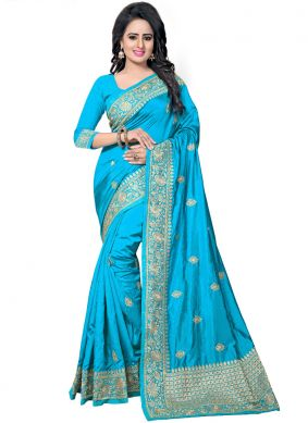 Beautiful Art Silk Embroidered Blue Traditional Designer Saree