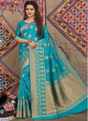 Beautiful Fancy Fabric Blue Weaving Traditional Designer Saree