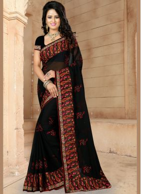 Beautiful Patch Border Faux Georgette Black Classic Saree