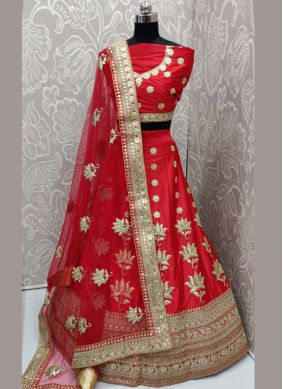 Beautiful Patch Border Red Art Silk Lehenga Choli