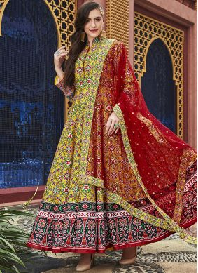 Beautiful Silk Handwork Yellow Readymade Salwar Suit