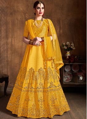 Beautiful Yellow Art Silk Lehenga Choli