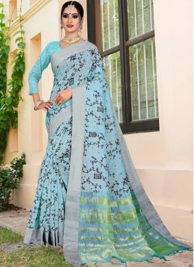 Beckoning Blue Printed Saree