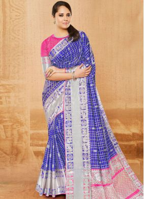 Beckoning Woven Art Silk Blue Traditional Designer Saree