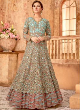 Bedazzling Embroidered Brown Anarkali Suit