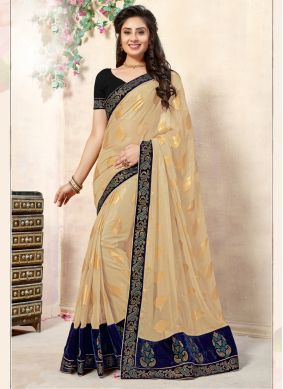 Beige and Blue Resham Designer Saree