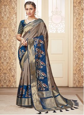 Beige and Blue Silk Reception Traditional Saree