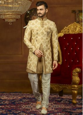 Beige and Gold Embroidered Indo Western