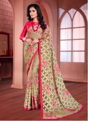 Beige and Pink Festival Printed Saree