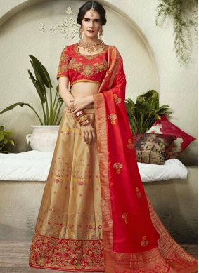 Beige and Red Mehndi Lehenga Choli