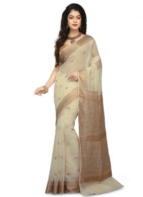Beige Art Banarasi Silk Weaving Designer Traditional Saree