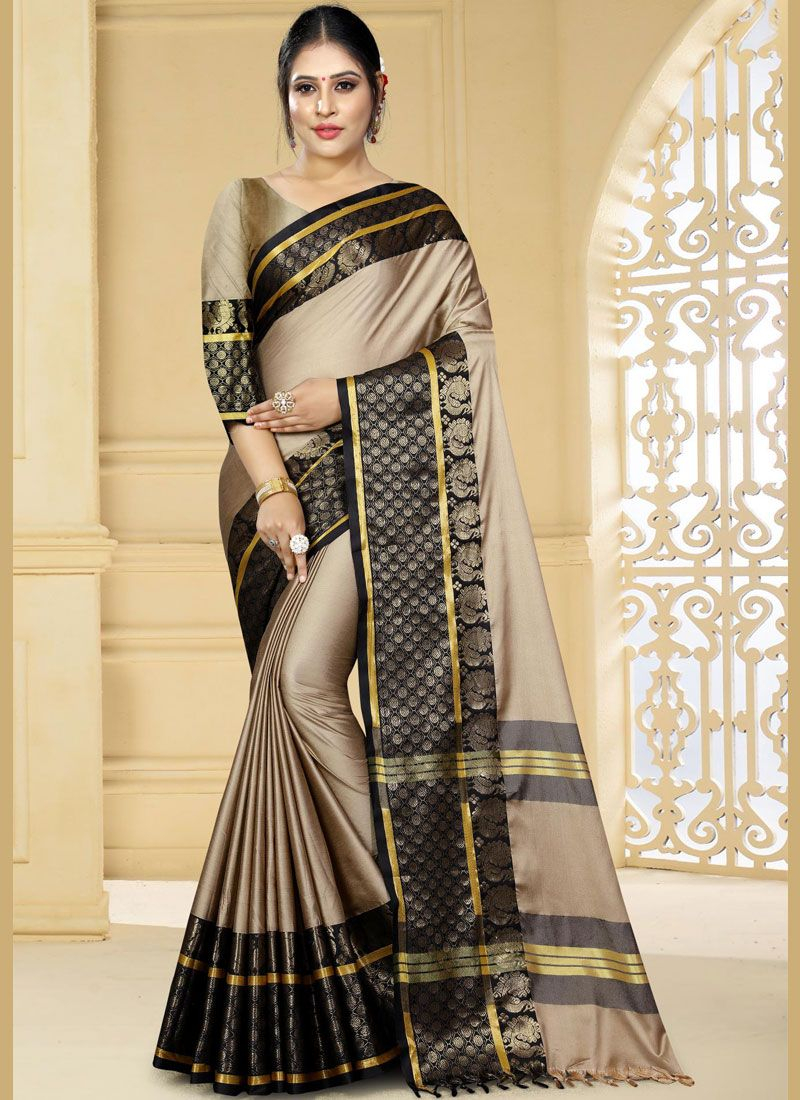 Beige Art Silk Ceremonial Traditional Designer Saree