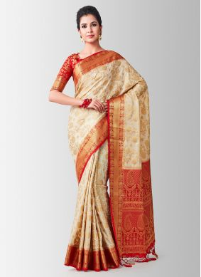 Beige Casual Designer Traditional Saree