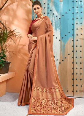 Beige Casual Faux Georgette Traditional Saree