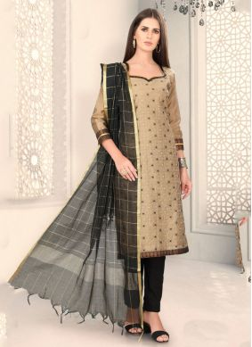 Beige Chanderi Churidar Designer Suit