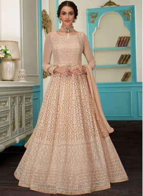 Beige Color Floor Length Anarkali Suit