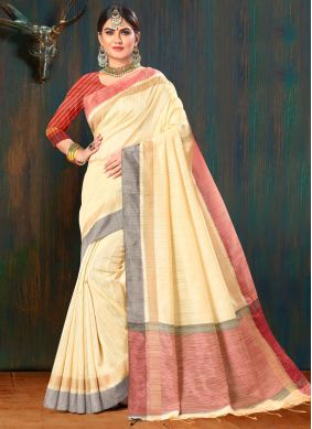 Beige Color Jute Silk Saree