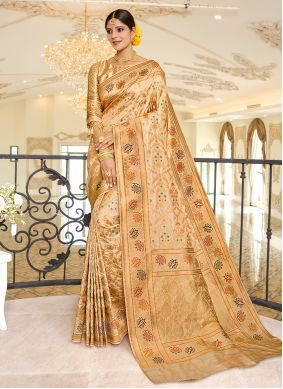 Beige Color Traditional Designer Saree