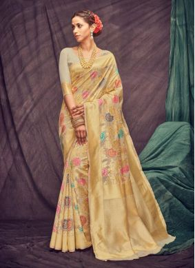 Beige Cotton Festival Casual Saree