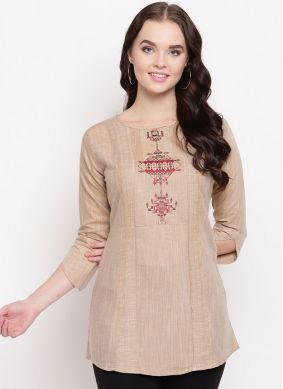 Beige Cotton Mehndi Party Wear Kurti