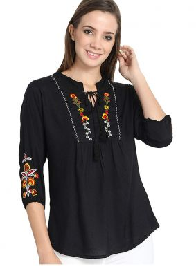 Beige Embroidered Casual Kurti