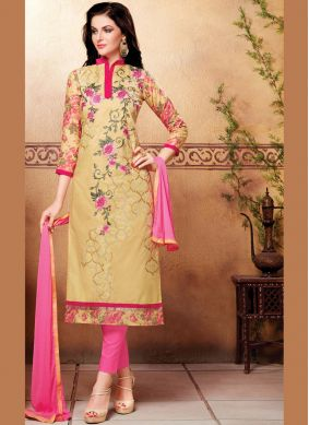Beige Embroidered Cotton   Churidar Suit