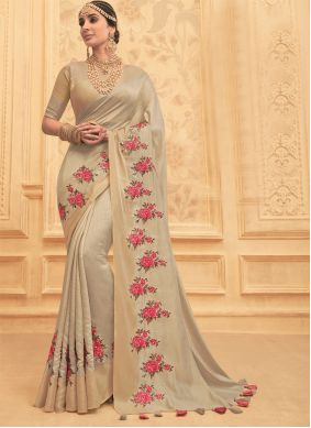 Beige Embroidered Engagement Traditional Saree