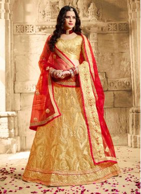 Beige Embroidered Net Lehenga Choli