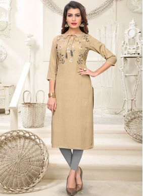 Beige Embroidered Rayon Casual Kurti