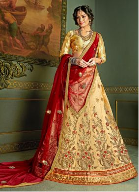 Beige Embroidered Silk A Line Lehenga Choli