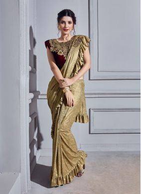 Beige Fancy Fabric Embroidered Classic Ruffle Saree