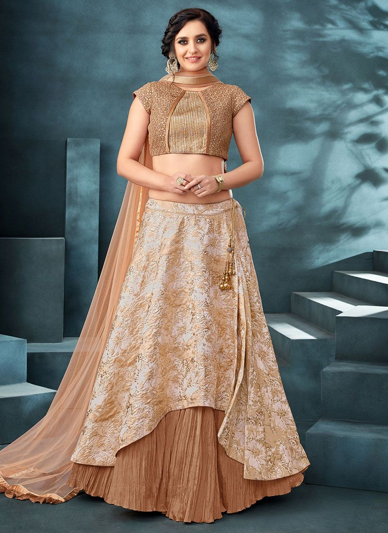 Beige Jacquard Party Trendy Designer Lehenga Choli
