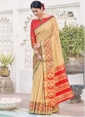 Beige Khadi Silk Weaving Saree