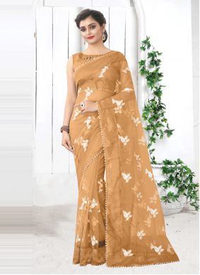 Beige Net Printed Saree For Festival