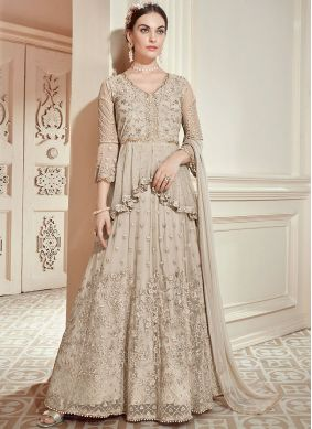 Beige Net Resham Floor Length Anarkali Suit