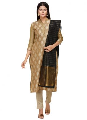 Beige Cotton Embroidered Pant Style Suit