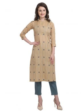 Beige Party Casual Kurti