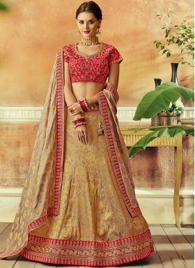 Beige Patch Border Jacquard Silk Lehenga Choli
