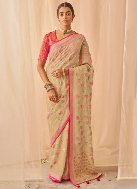 Beige Patch Border Mehndi Traditional Designer Saree