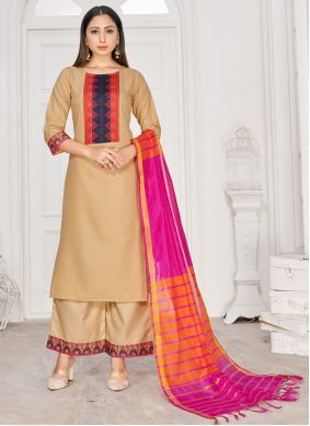 Beige Print Rayon Readymade Suit