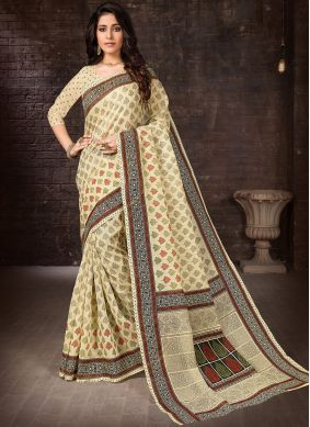 Beige Printed Cotton Casual Saree