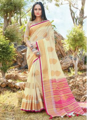 Beige Printed Party Classic Saree