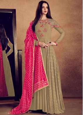 Beige Rayon Readymade Anarkali Suit