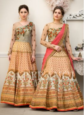 Beige Resham Fancy Fabric Designer Gown