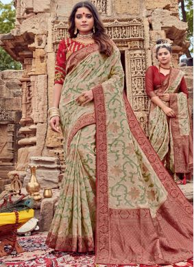 Beige Resham Viscose Traditional Saree